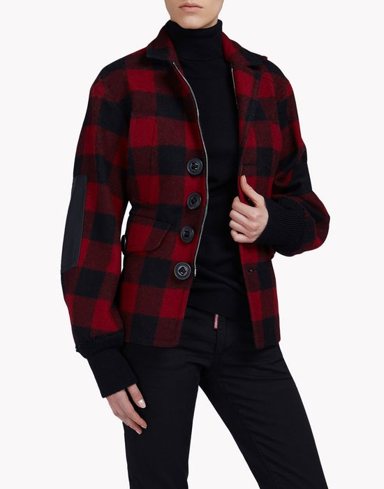 buffalo check jacket coats & jackets Woman Dsquared2