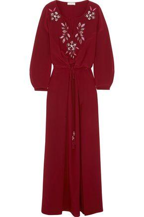 토리버치 Tory Burch Michaela embellished silk maxi dress,Burgundy