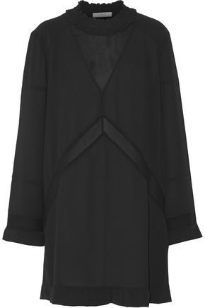 이로 IRO Lowska chiffon-paneled ruffled cloque mini dress,Black