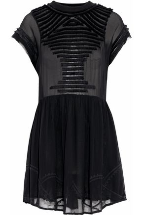 이로 IRO Open-back fringe-trimmed chiffon mini dress,Black