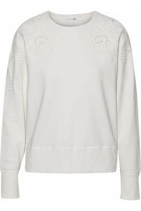 랙앤본 Rag & Bone Cutout embroidered cotton-terry sweatshirt,White