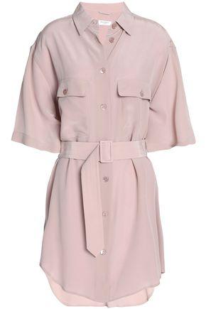 이큅먼트 Equipment Belted washed silk top,Blush
