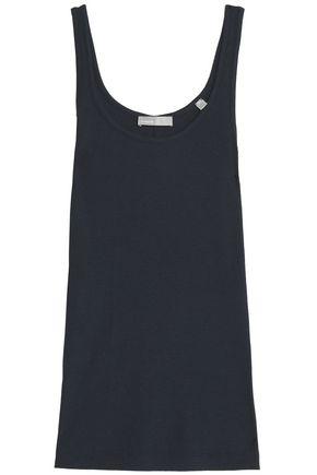 빈스 민소매 블라우스 블루 Vince Ribbed pima cotton and modal-blend top,Midnight blue