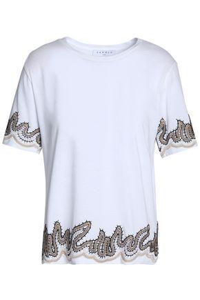 산드로 SANDRO Embroidered cotton-jersey T-shirt,White