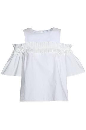 산드로 SANDRO Cold-shoulder crepe de chine-paneled pleated cotton-poplin blouse,White
