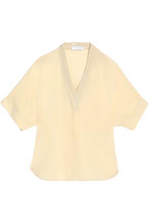 산드로 SANDRO Silk crepe de chine top,Pastel yellow