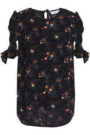 산드로 SANDRO Ruffle-trimmed floral-print crepe top,Black