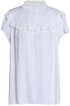 산드로 SANDRO Guipure lace-trimmed ruffled poplin blouse,White