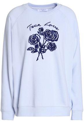 산드로 SANDRO Embroidered French cotton-blend terry sweatshirt,Sky blue