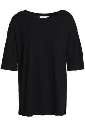 산드로 SANDRO Bead-embellished cotton and modal-blend T-shirt,Black