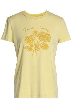 산드로 SANDRO Printed cotton and modal-blend T-shirt,Pastel yellow