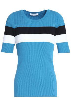 산드로 SANDRO Striped stretch-knit top,Blue