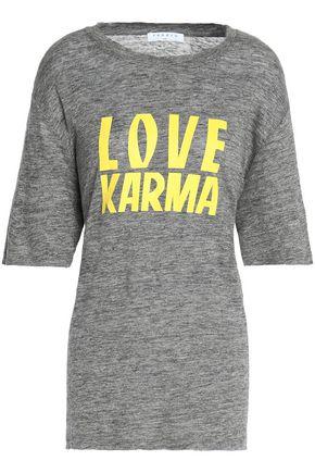 산드로 SANDRO Printed slub linen-jersey T-shirt,Gray