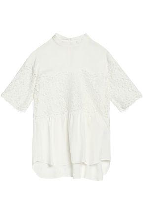 산드로 SANDRO Corded lace-paneled crepe de chine top,White