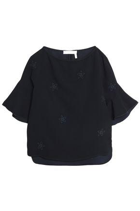 씨 바이 클로에 자수 반팔 티셔츠 블루 SEE BY CHLOÉ Embroidered crepe top,Midnight blue