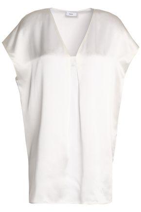 빈스 반팔 블라우스 화이트 Vince Pleated silk-satin top,White