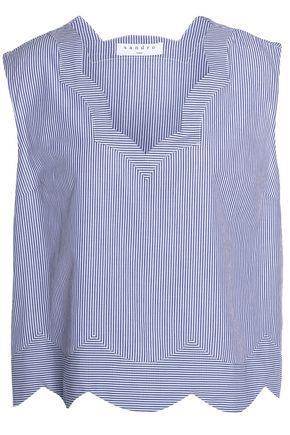 산드로 SANDRO Scalloped pinstriped cotton top,Blue