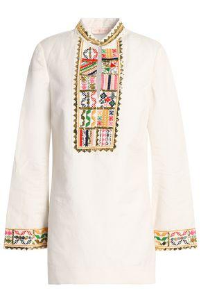 토리버치 Tory Burch Embroidered linen and cotton-blend gauze tunic,Ivory