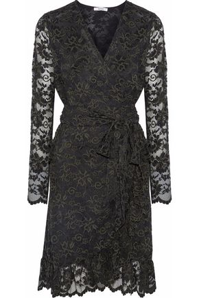 가니 랩 원피스 GANNI Flynn ruffled lace wrap dress,Forest green