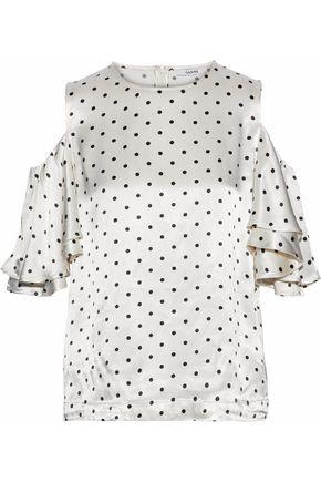 가니 GANNI Leclair cold-shoulder polka-dot satin blouse,Ivory