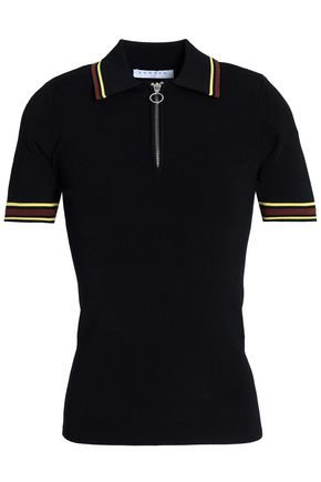 산드로 SANDRO Ribbed stretch-knit polo shirt,Black