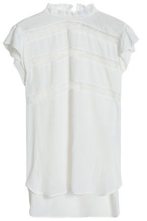 산드로 SANDRO Lace-trimmed silk crepe de chine blouse,Off-white