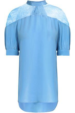 산드로 SANDRO Bow-detailed lace and silk-satin blouse,Light blue