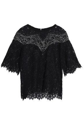 산드로 SANDRO Laslo corded lace top,Black
