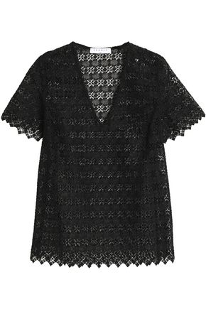 산드로 SANDRO Scalloped lace top,Black