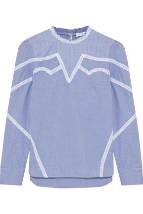 산드로 수잔 레이스 코튼 탑 블루 (서현진 착용) SANDRO Suzan lace-trimmed checked cotton-poplin top,Blue
