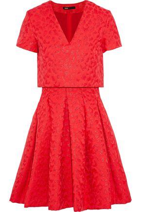 마쥬 MAJE Roleo pleated metallic jacquard dress,Red