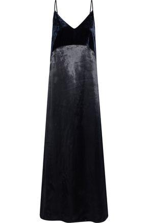 마쥬 원피스 MAJE Ryck velvet-paneled satin maxi slip dress,Navy