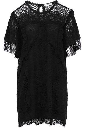 이로 IRO Pike cotton-blend lace mini dress,Black