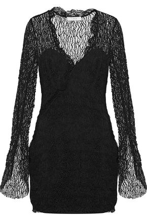 이로 IRO Lojha cotton-blend lace mini dress,Black