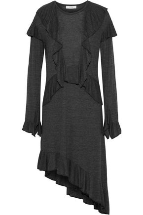 이로 IRO Nancot asymmetric ruffle-trimmed jersey dress,Dark gray