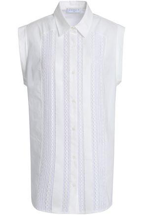 산드로 SANDRO Lace-trimmed cotton-poplin top,White