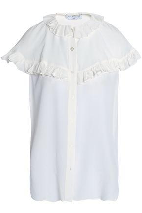 산드로 SANDRO Ruffled silk crepe de chine shirt,Ivory