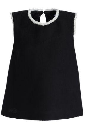 산드로 SANDRO Embellished woven top,Black