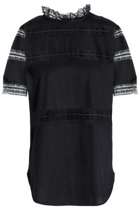 산드로 SANDRO Lace-paneled cotton-jersey T-shirt,Black
