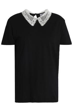 산드로 헨리아 레이스 장식 반팔 티셔츠 블랙 SANDRO Henria lace-trimmed cotton-jersey T-shirt, Black
