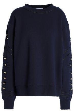 산드로 SANDRO Embellished cotton-blend fleece sweatshirt,Navy