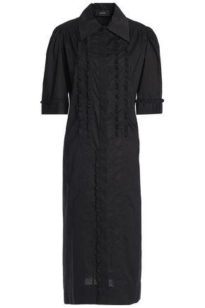 조셉 미디 셔츠드레스 블랙 JOSEPH Ruffle-trimmed cotton-poplin midi shirt dress,Black