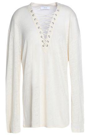 이로 IRO Distressed slub linen-jersey T-shirt,Ivory