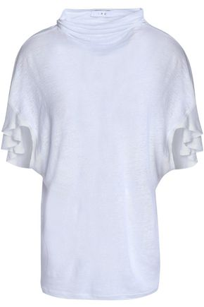 이로 IRO Ruffle-trimmed slub linen T-shirt,White