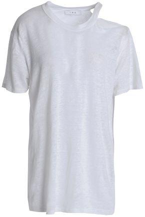 이로 IRO Cutout slub linen-jersey T-shirt,White