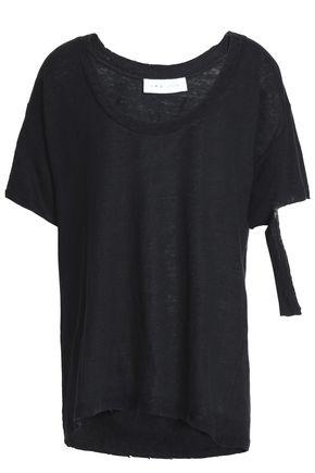 이로 IRO Preta cutout slub linen-jersey T-shirt,Charcoal