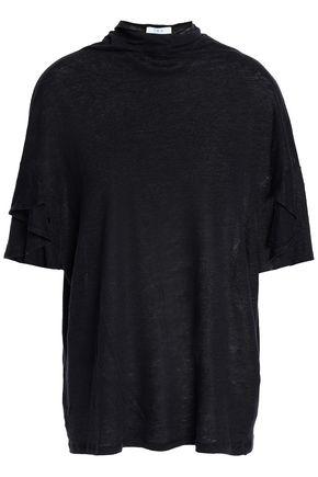 이로 IRO Ruffle-trimmed slub linen T-shirt,Black