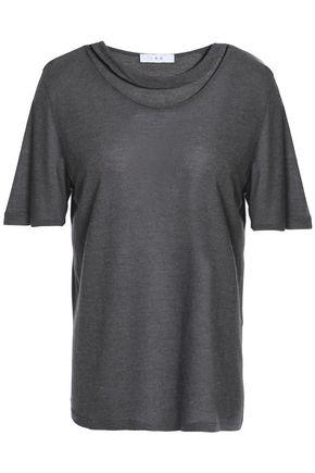 이로 IRO Cutout melange jersey T-shirt,Dark gray
