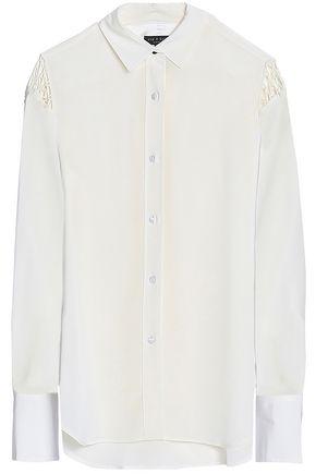 랙앤본 Rag & Bone Hana macrame-trimmed silk crepe de chine shirt,Off-white