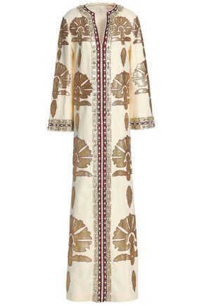 토리버치 Tory Burch Leather-appliqued embellished linen maxi dress,Ivory